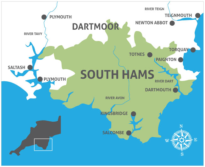 map of the south hams - south hams map - south devon - uk