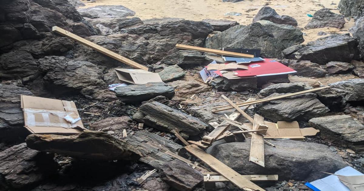 Broken bottles and glass left on the beach as lockdown eases