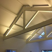 LED lighting installed on beams