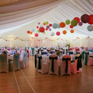 Hall with marquee lining and tables set up