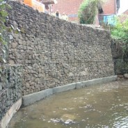 Gabion basket retaining Wall - adjacent river - Pavilion Construction