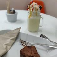 Honeycomb Milkshake and chocolate brownie