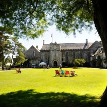 Dartington hall exterior in the sun