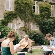 Bursary vocal consort on courtyard