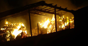 21 different fire stations have responded to a barn fire